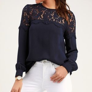 Lulus Picture This Blouse Navy Lace Neckline